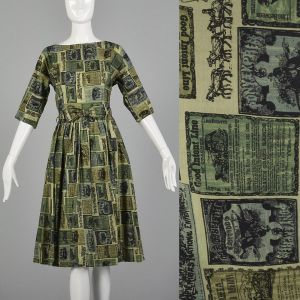 Medium 1950s Green Dress Wild West Newspaper Novelty Print Lightweight Cotton Day Dress