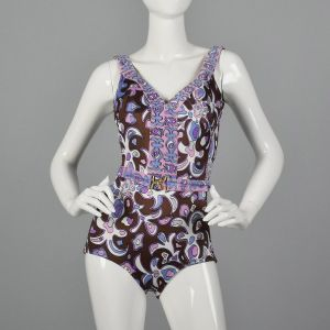 XS 1960s Purple Psychedelic Print Swimsuit One Piece Belted Waist Boho Mod