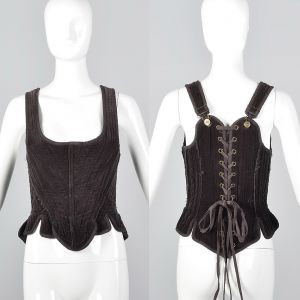 Small Gary Graham Brown Cotton Corset Top Sleeveless Boned Laced Back