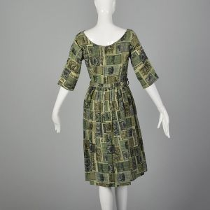 Medium 1950s Green Dress Wild West Newspaper Novelty Print Lightweight Cotton Day Dress - Fashionconstellate.com