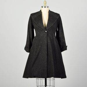 Large 1950s Coat Grey Wool Princess Fit & Flare Winter Outerwear