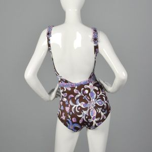 XS 1960s Purple Psychedelic Print Swimsuit One Piece Belted Waist Boho Mod  - Fashionconstellate.com