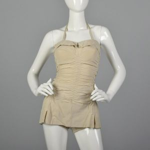 XS 1950s Ruched Swimsuit Pin Up Swimsuit Halter One Piece Sportswear Summer Pin Up Style