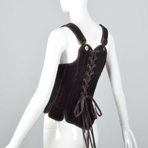 Small Gary Graham Brown Cotton Corset Top Sleeveless Boned Laced Back  - Fashionconstellate.com