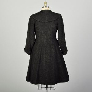 Large 1950s Coat Grey Wool Princess Fit & Flare Winter Outerwear - Fashionconstellate.com