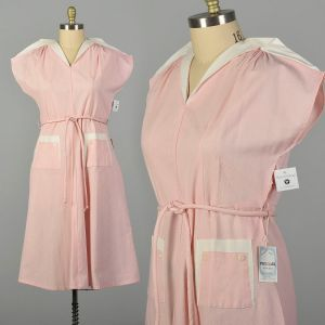 XXL 1950s Pink Day Dress Cotton Short Sleeves Deadstock Summer Casual
