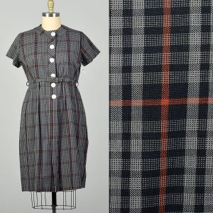 XXL 1950s Gray Cotton Day Dress Casual Plaid Short Sleeves