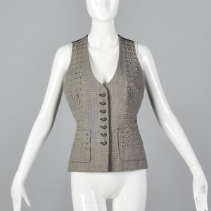 Small 1990s Todd Oldham Times Seven 7 Studded Plaid Wool Vest