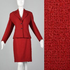 XL 1960s Pierre Cardin Skirt Suit Red Wool Blazer Jacket Matching Pencil Skirt Two Piece Set