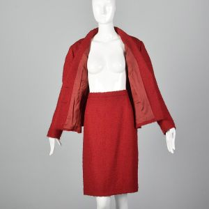 XL 1960s Pierre Cardin Skirt Suit Red Wool Blazer Jacket Matching Pencil Skirt Two Piece Set - Fashionconstellate.com
