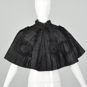 1900s Black Cape Silk Beaded Lace Mourning Edwardian Capelet Mantel Outerwear - Fashionconstellate.com