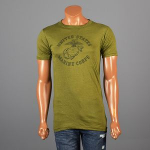 Small Mens 1970s T-Shirt Green Military Screen Tee 100% Cotton USMC Marine Corps Short Sleeve T