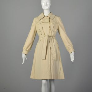 Small Tan Trench Coat 1970s Lightweight Knee-length Plaid Lining Jacket