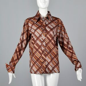XL 1970s Top Brown and Orange Plaid Stripe Blouse Long Sleeve Collared Button Up Shirt