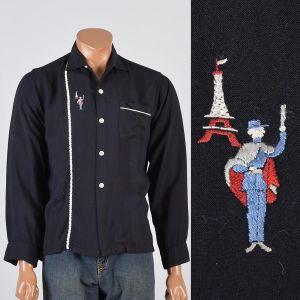 Medium 1950s Shirt Black Long Sleeve Novelty French Eiffel Tower Embroidery Button Down