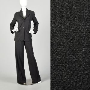 Small 1990s Celine Business Suit Charcoal Gray Casual Wear To Work Extra Long Pants