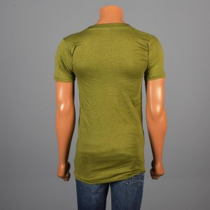 Small Mens 1970s T-Shirt Green Military Screen Tee 100% Cotton USMC Marine Corps Short Sleeve T - Fashionconstellate.com