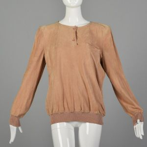 Large 1980s Valentino Pink Top Suede Long Sleeve Henley Italian Leather Ribbed Knit Trim Shirt