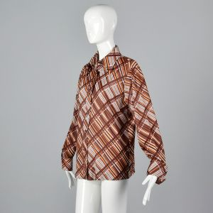XL 1970s Top Brown and Orange Plaid Stripe Blouse Long Sleeve Collared Button Up Shirt - Fashionconstellate.com