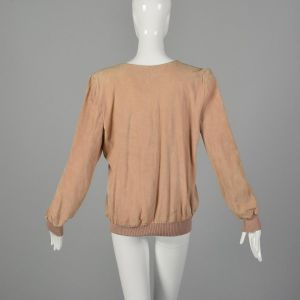 Large 1980s Valentino Pink Top Suede Long Sleeve Henley Italian Leather Ribbed Knit Trim Shirt - Fashionconstellate.com