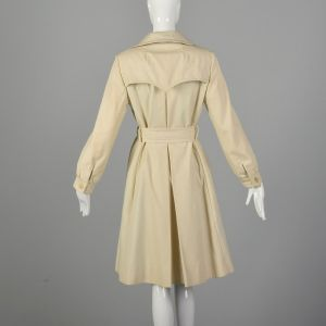 Small Tan Trench Coat 1970s Lightweight Knee-length Plaid Lining Jacket - Fashionconstellate.com