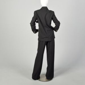 Small 1990s Celine Business Suit Charcoal Gray Casual Wear To Work Extra Long Pants - Fashionconstellate.com