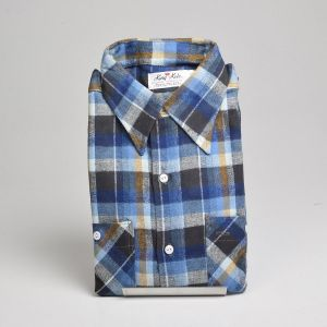 XL 1960s Deadstock Blue Flannel Shirt Plaid Long Sleeves Woven Two Pocket  - Fashionconstellate.com