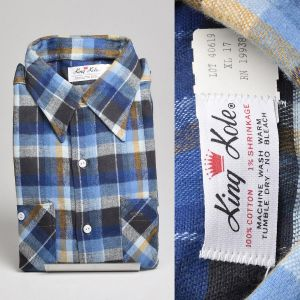 XL 1960s Deadstock Blue Flannel Shirt Plaid Long Sleeves Woven Two Pocket