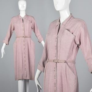 Medium 1950s Abby Kent Pink Dress Wool Gaberdine Elbow Length Sleeves