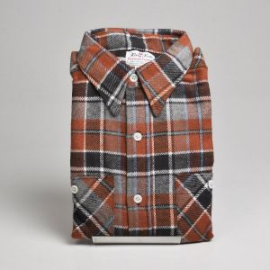 XL 1960s Brown Plaid Shirt Deadstock Mens Thick Flannel Cotton Long Sleeve Two Pocket Button Front  - Fashionconstellate.com