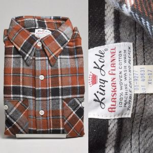 XL 1960s Brown Plaid Shirt Deadstock Mens Thick Flannel Cotton Long Sleeve Two Pocket Button Front