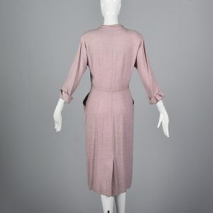 Medium 1950s Abby Kent Pink Dress Wool Gaberdine Elbow Length Sleeves  - Fashionconstellate.com