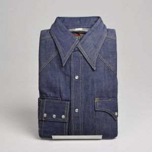 Small 1970s Deadstock Denim Western Shirt Cotton Long Sleeve Pearl Snaps Shoulder Yoke Flap Pockets  - Fashionconstellate.com