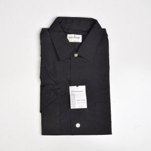 Medium 1960s Deadstock Men's Short Sleeve Shirt Cotton Button Front Black Two Pockets Button Down - Fashionconstellate.com