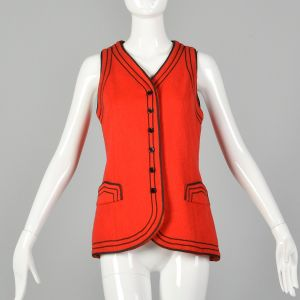 Small 1970s Red Vest Black Soutache Trim Button Front High Quality Top