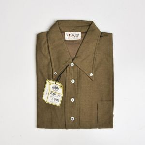 Medium 1960s Men's Deadstock Knit Shirt Short Sleeve Cotton Pull Over Brown Button Down Collar - Fashionconstellate.com