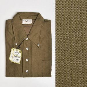 Medium 1960s Men's Deadstock Knit Shirt Short Sleeve Cotton Pull Over Brown Button Down Collar