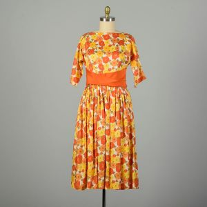 Large 1950s Dress Orange Floral Bright Colorful Fit and Flare