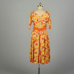 Large 1950s Dress Orange Floral Bright Colorful Fit and Flare - Fashionconstellate.com