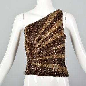 Small 1990s Brown Top Bronze Beaded One Shoulder Asymmetrical Formal Shirt