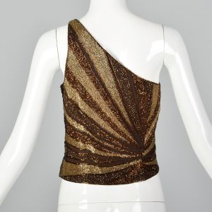 Small 1990s Brown Top Bronze Beaded One Shoulder Asymmetrical Formal Shirt  - Fashionconstellate.com