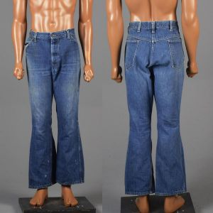 Large 1970s Mens Jeans Blue Bell Bottoms Flared Denim Pants Distressed High Rise Waist