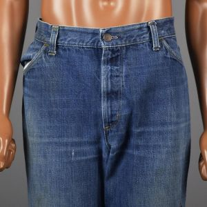 Large 1970s Mens Jeans Blue Bell Bottoms Flared Denim Pants Distressed High Rise Waist - Fashionconstellate.com