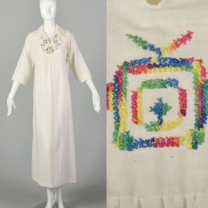 Medium 1970s Maxi Dress Boho Semi Sheer Caftan Bohemian Hippie Kaftan