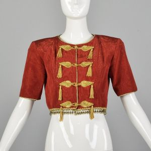 Small 1993 Yves Saint Laurent Bolero Jacket Crop Top Red with Gold Trim