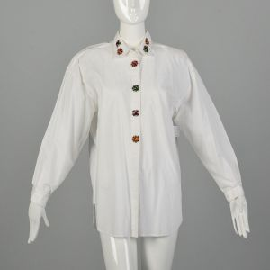 Medium 1980s Cotton Shirt Gitano Beaded Button Covers Oversized Drop Shoulder