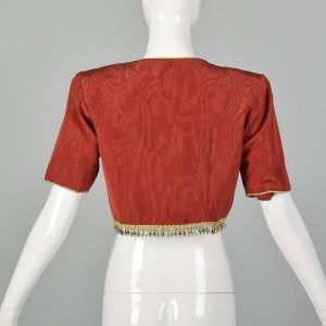 Small 1993 Yves Saint Laurent Bolero Jacket Crop Top Red with Gold Trim - Fashionconstellate.com