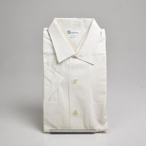 Large 1950s Deadstock Short Sleeve Dress Shirt Cotton Two Pockets Button Front White Patterned  - Fashionconstellate.com