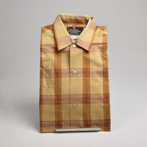 Small 1960s Deadstock Brown Plaid Shirt All Cotton Permanent Press Fruit of the Loom Long Sleeve  - Fashionconstellate.com