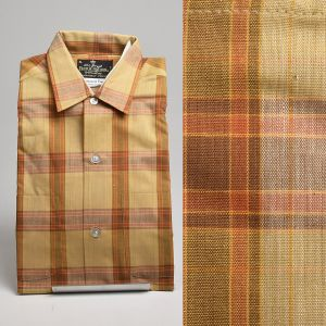 Small 1960s Deadstock Brown Plaid Shirt All Cotton Permanent Press Fruit of the Loom Long Sleeve